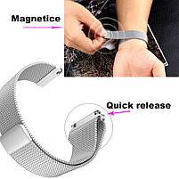 Amazfit Bip / Amazfit GTS  Металлический магнитный ремешок для смарт часов, Silver, ширина - 20 мм., фото 6