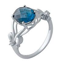 Серебряное кольцо  с натуральным топазом Лондон Блю , фото 1
