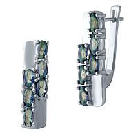 Серебряные серьги  с натуральным мистик топазом , фото 1