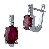 Серебряные серьги  с натуральным рубином , фото 1