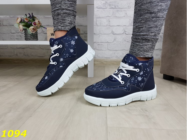 Дутики ботинки зимние на густом меху синие снежинки 36, 40 (1094)