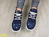 Дутики ботинки зимние на густом меху синие снежинки 36, 40 (1094), фото 3
