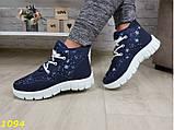 Дутики ботинки зимние на густом меху синие снежинки 36, 40 (1094), фото 8