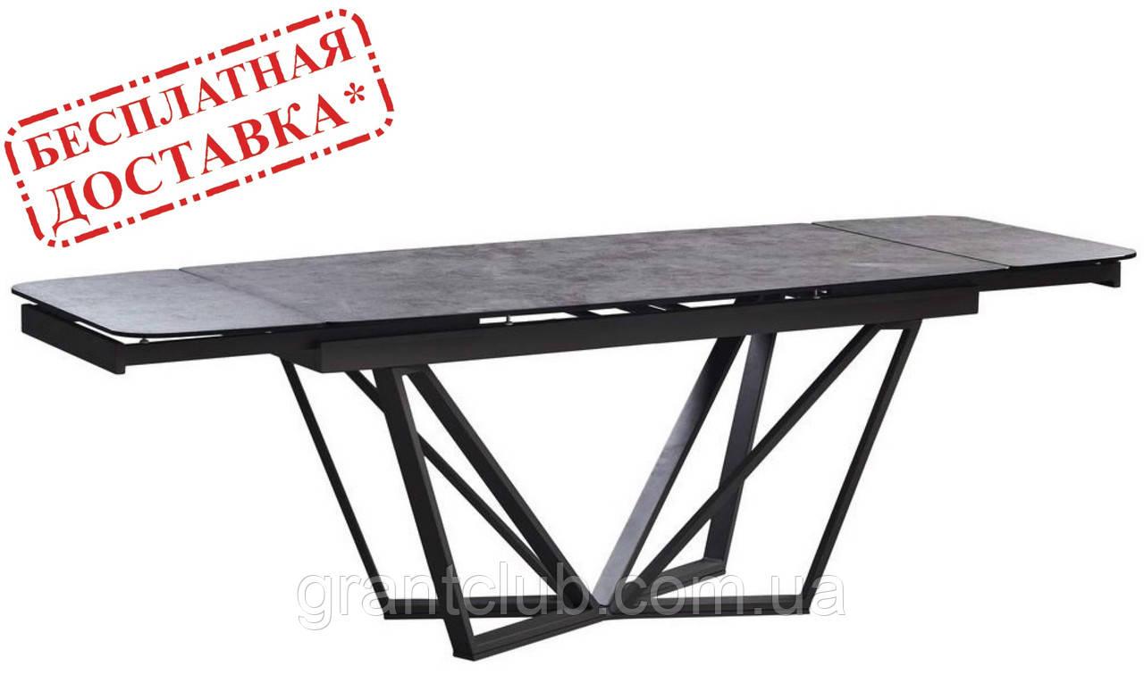 Розкладний обідній стіл HARBOR IRON GREY 160/240 сіре скло (безкоштовна доставка)