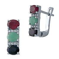 Серебряные серьги  с натуральным изумрудом, рубином, сапфиром , фото 1