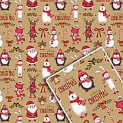Новогодняя подарочная упаковочная крафт бумага №УП-506К