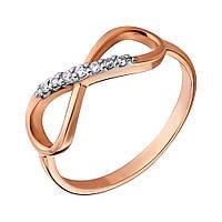 Золотое кольцо с фианитами Бесконечность 000036421 15.5 размер