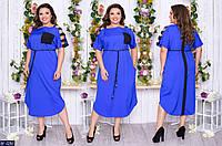 Синее летнее женское платье прямого покроя большого размера, размеры 50-52, 54-56, 58-60