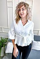 Интересная блуза с объемными рукавами и поясом YI MEI SI - белый цвет, S (есть размеры), фото 1