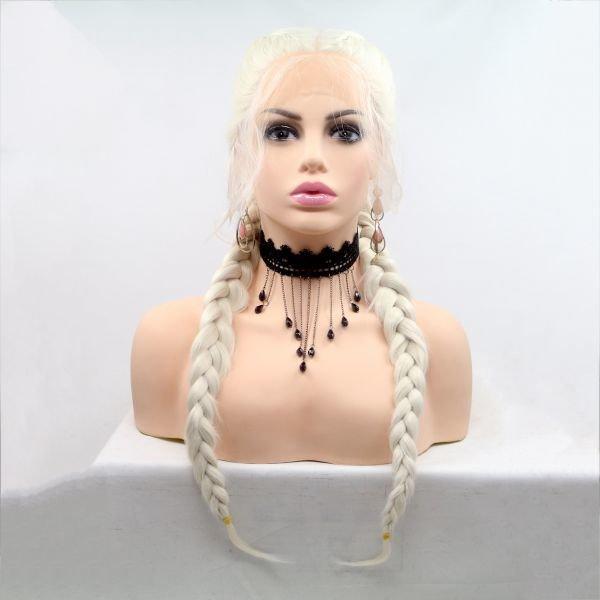 Довгий реалістичний жіночий парик з кісками на сітці в кольорі бежевий блонд
