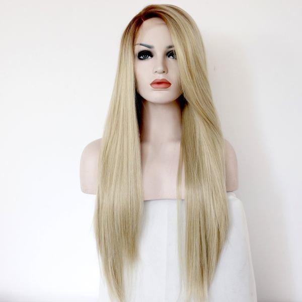 Длинный прямой реалистичный женский парик на сетке холодный блонд цвета с омбре