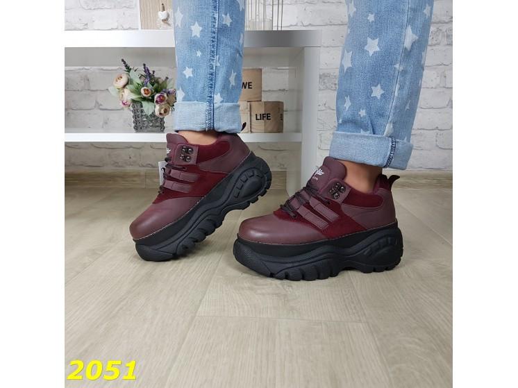 Кроссовки на высокой массивной платформе буффало марсала бордо 40 р. (2051)