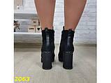 Ботинки на широком каблуке с платформой на шнуровке 35 (2063), фото 6