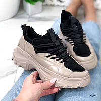 Женские кроссовки из натуральной замши черно-бежевые