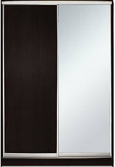Шкаф-купе Алекса 220х45x120 Венге магия фасады ДСП+Зеркало профиль Серебро