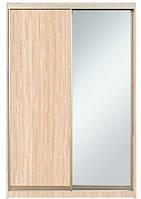 Шкаф-купе Алекса 220х45x190 Дуб молочный фасады ДСП+Зеркало профиль Серебро