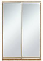 Шкаф-купе Алекса 220х45x190 Орех лесной фасады Зеркало профиль Серебро
