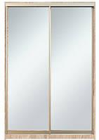 Шкаф-купе Алекса 220х45x140 Дуб сонома фасады Зеркало профиль Серебро