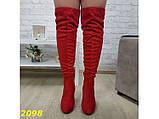 Сапоги чулки ботфорты классика на широком удобном каблуке замшевые красные 38, 39 (2098), фото 4