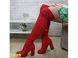 Сапоги чулки ботфорты классика на широком удобном каблуке замшевые красные 38, 39 (2098), фото 8