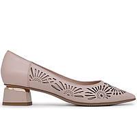 Женские натуральные кожаные бежевые летние туфли лодочки на красивом устойчивом каблуке Польша 36