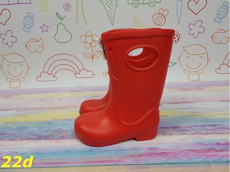 Детские резиновые сапоги непромокаемые красные 20\21, 22\23 р. (22d)