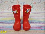 Детские резиновые сапоги непромокаемые красные 20\21, 22\23 р. (22d), фото 5