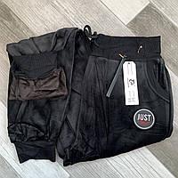 Брюки женские велюровые на меху AO Longcom, с манжетами, карманы по бокам, размер L, чёрные, 997