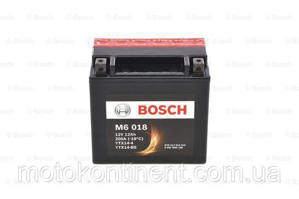 Мото аккумулятор BOSCH 12AH 200A 150x87x145 M6 Левый [+] 12VBosch 0092M60180 (YTX14-BS = ETX14-BS)