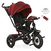 Велосипед M 4060HA-1L три кол.резина (12/10)колясочн,поворот,USB/BT,свет,торм,пульт,красный лен