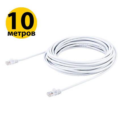 Патч-корд 10 м, UTP, White, Cablexpert, литой, RJ45, кат.5е, витая пара, сетевой кабель для интернета, фото 2