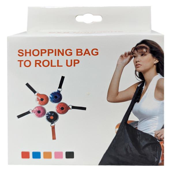 Складывающаяся сумка для покупок в виде рулетки - розовая