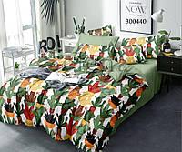 Комплект постельного белья Цветные Кактусы сатин (Евро)
