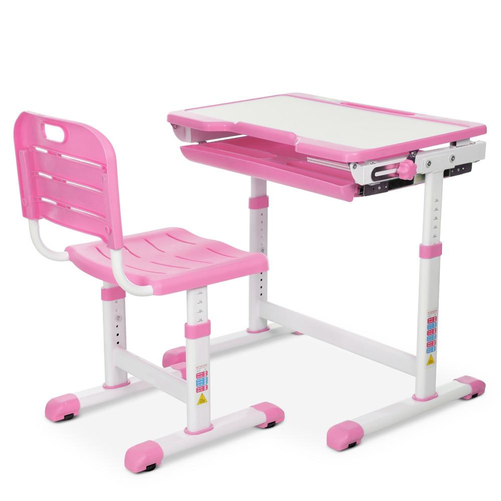 Парта детская BAMBI M 3230(2)-8 розовая с выдвижным ящиком