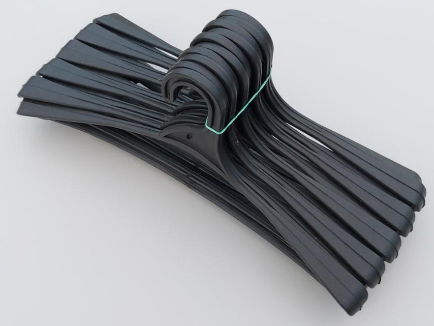 Длина 41,5 см. Плечики пластмассовые Гем-2 черные, 10 штук в упаковке