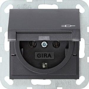 Розетка с з/к и крышкой GIRA System 55 антрацит