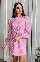 Красивое платье в горошек с поясом Суфле, фото 1