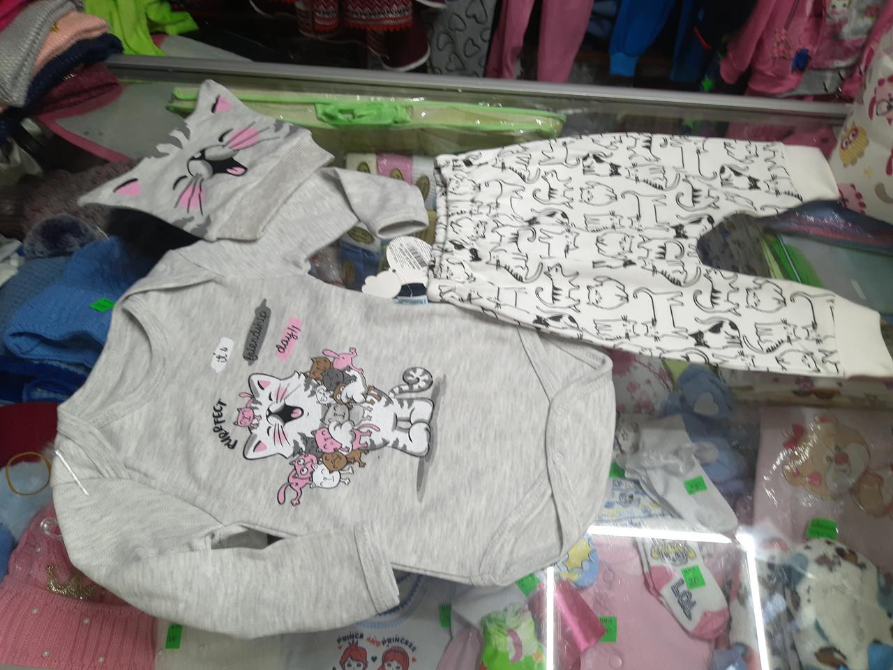 Детский костюм для новорожденного  Боди штанишки шапочка р.62 - 68 см