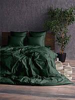 Комплект постельного белья Двуспальный Евро Сатин страйп 1 / 1 см Зеленый.