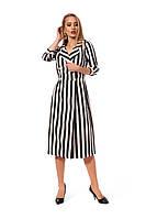 Стильное двубортное платье, длиной миди в полоску, р.42,44,46,48