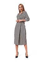 Стильное двубортное платье, длиной миди в черную полоску, р.42,44,46,48