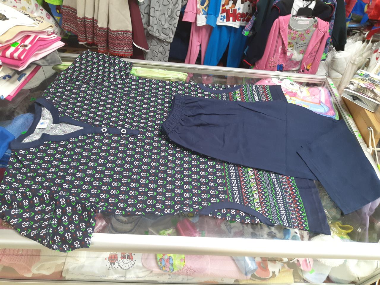 Жіночий літній костюм Туніка з кишенями і бриджі р. 44 46 48