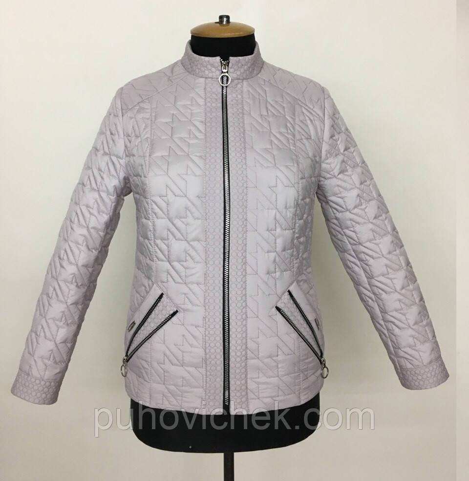 Демисезонная женская куртка укороченная без капюшона размеры 50-60