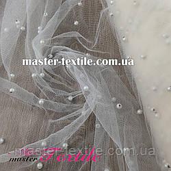 Ткань Сетка  с бусинками (молочная)