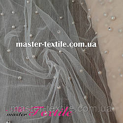 Ткань Сетка  с бусинками (персик)