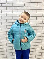 """Подростковая демисезонная куртка для мальчика """"Спорт Лаке"""" бирюзового цвета, р. 122, 128, 134, 140"""