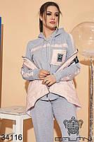 Стильный молодежный костюм тройка с жилеткой из плащевки с 46 по 56 размер, фото 3