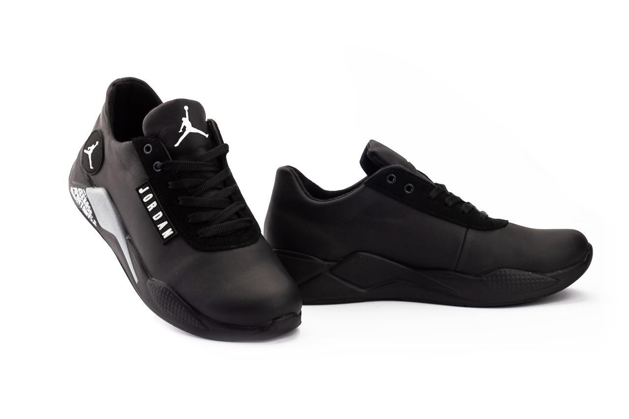 Мужские кроссовки кожаные весна/осень черные Lions JD