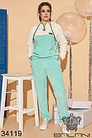 Бархатный спортивный костюм брюки на резинке и толстовка с капюшоном с 46 по 52 размер