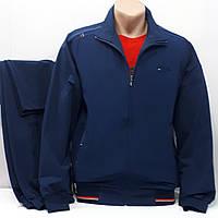 Модный спортивный костюм двунить Турция Linke, тёмно-синий, хлопковый трикотаж, брюки прямые